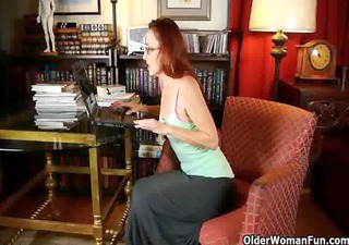 chic aged lady masturbates in pants and hose