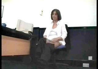 aged secretary teases in corsets and nylons