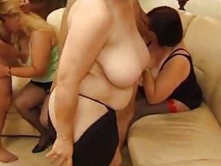 triple drunk older  sluts sharing two dicks