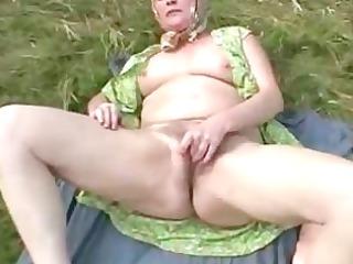next door granny rubbing her granny shaggy old