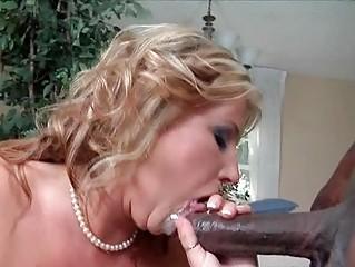 classy blond lady inside ebony pantyhose