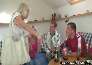 partying lads screw drunk blonde granny