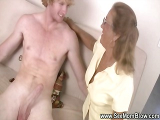 mommy helps her tiny lady giving a bj