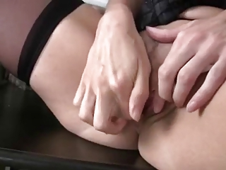 lady pushing dildo