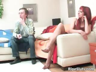 older  extremely impressive redhead slut lick on