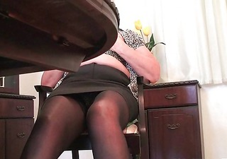 granny in nylons plays with dildo