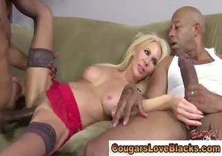nylons interracial cougar gets a ejaculation
