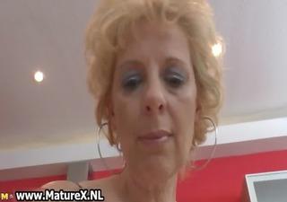 blonde mature wife in dark nylons