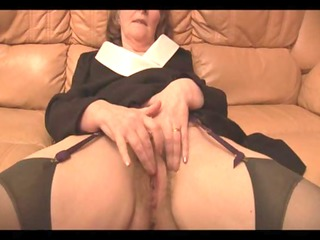 furry granny in pantyhose pleases with panties