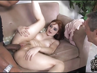 cuckold eats ebony white cream out of his wifes