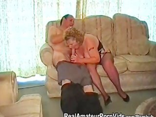 a chubby granny has porn with her husband