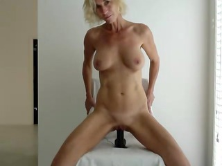 huge titten lady drives here brown sex toy