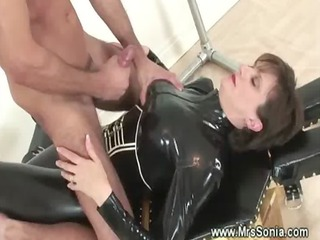 dominatrix into leather drives servant