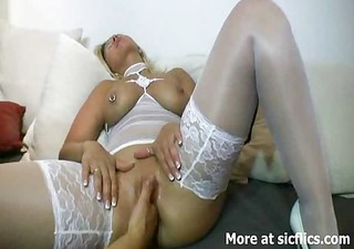 blond milf fisted hard and screwed in her ass