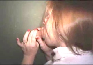 redhead wife at gloryhole , ball cream pie at end