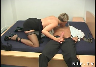 short haired french milf in nylons receives her