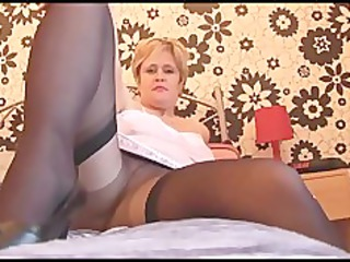 naughty mature lady in stockings pantyhose and