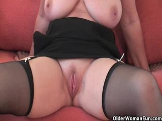 impressive grandma inside nylons shows her big