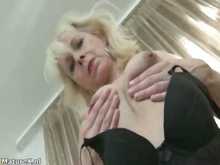 horny grown-up whore goes horny fingering