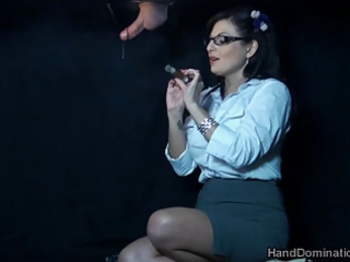 smoking gloryhole handjob by dominant milf