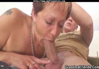 lonely grandma acquires pounded by two slutty