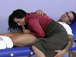 lady having on satin gives a handjob