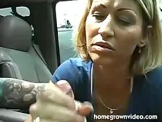 busty lady give a lovely handjob