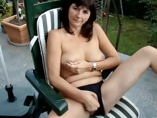 my lady pushing dildo outside