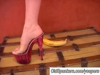 horny lady worships high shoes