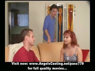 ginger milf as bride does blowjob for huge guy in