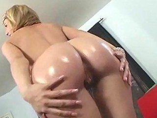 oiled giant ass milf wearing panties gobbles down