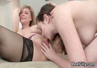 lewd aged blond lesbian goes eager part0