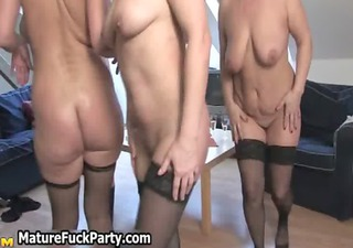 four sexually excited older housewifes in a group