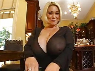 chubby chested blonde momma doing a pov cock