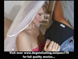 young super blonde bride lovely talking and doing