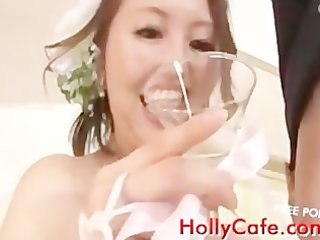mature brides drinking white cream funny
